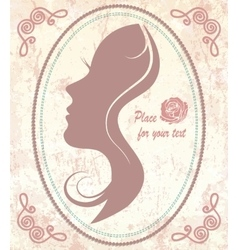 Vintage silhouette of the face of a beautiful vector image
