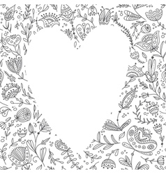 White heart on floral background for your text vector