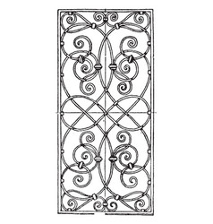 Wrought-iron grill oblong panel is a 17th century vector