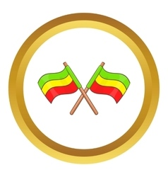 Rastafarian crossed flags icon vector