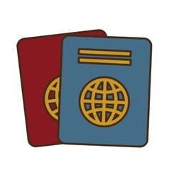 Cartoon two passport identification tourist vector