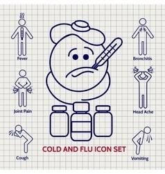 Line influenza icons set vector