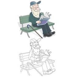 Old man reading vector