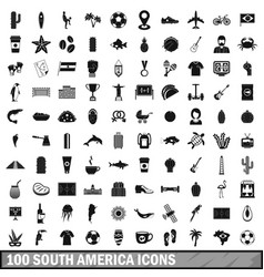 100 south america icons set simple style vector