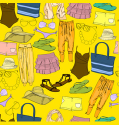 seamless pattern with hand drawn vacation clothes vector image