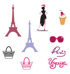 Paris isolated icon set on paris theme with well vector