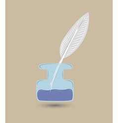 Quill and inkwell vector