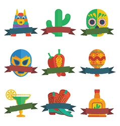 mexican badges vector image