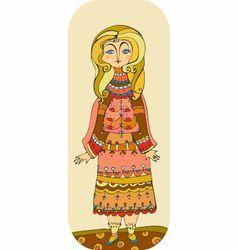Amusing girl in a pink dress vector