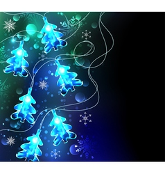 Glowing christmas trees vector