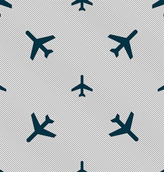 Plane icon sign seamless pattern with geometric vector