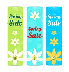 Set of colorful spring season sale banner vector