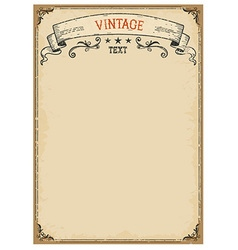 Vintage background on old paper with ornate frame vector