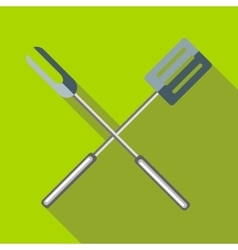 Barbeque fork and spatula icon flat style vector