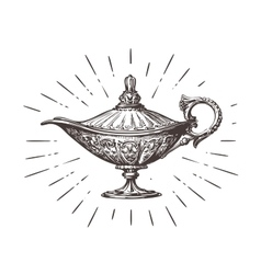 Aladdin magic or genie lamp vintage sketch vector
