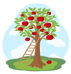 Apple tree and wooden staircase vector image vector image