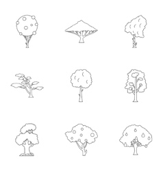 Arboreal plant icons set outline style vector
