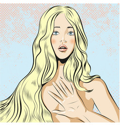 beautiful woman with long blond hair qestuing no vector image