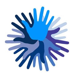 Blue hand print icon vector