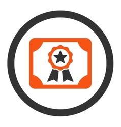 Certificate flat orange and gray colors rounded vector