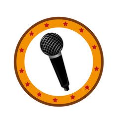 color circular frame with microphone vector image
