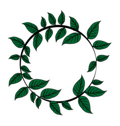 Color image decorative crown of leaves in circular vector