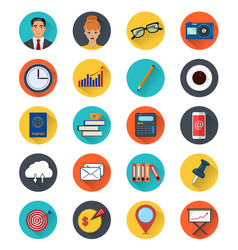 Colored icons of office elements set twenty vector
