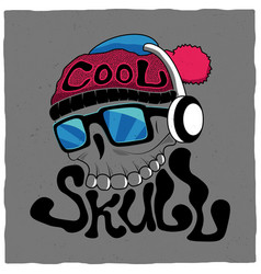 cool skull poster vector image vector image