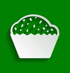 Cupcake sign paper whitish icon with soft vector