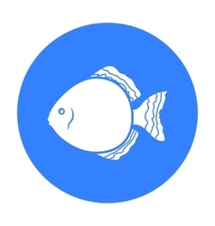 Discus fish icon black singe aquarium fish icon vector