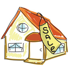 Drawn colored house for sale vector