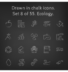 Ecology icon set drawn in chalk vector image