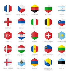 Europe flag icons hexagon flat design vector
