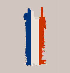 Factory icon and grunge brush france flag vector