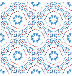 Flower pattern blue boho background vector