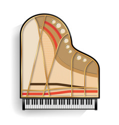 grand piano opened realistic black grand vector image