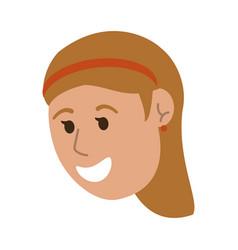Happy smiling woman cartoon icon image vector