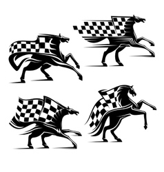 Horse with checkered flag racing sport icons vector