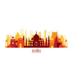 india architecture landmarks skyline shape vector image vector image