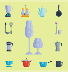 kitchen utensils icons vector image