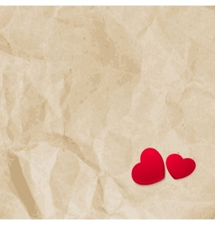 Red hearts on vintage paper eps 10 vector