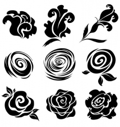 rose design elements vector image vector image