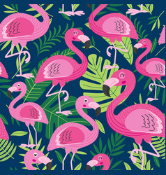 Seamless pattern with flamingo vector