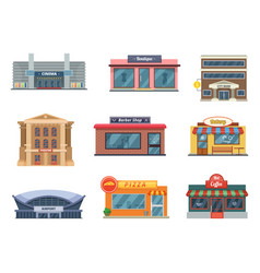 shops and municipal buildings mini stores and vector image