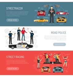 Street racing flat horizontal banners set vector