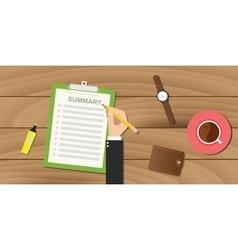 Summary report business clipboard executive hand vector