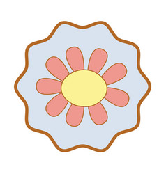Symbol beautiful flower with oval petals vector