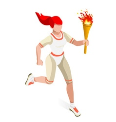 Torchbearer 2016 Sports Isometric 3D vector image vector image