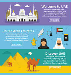 Uae travel banner horizontal set flat style vector
