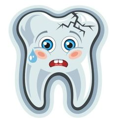 Cartoon tooth toothache vector